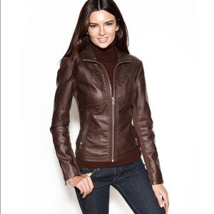 Kenneth Cole Reaction Brown Faux Leather Jacket